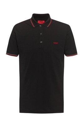 Poloshirt aus Stretch-Baumwolle mit Streifen-Einfassung, Schwarz