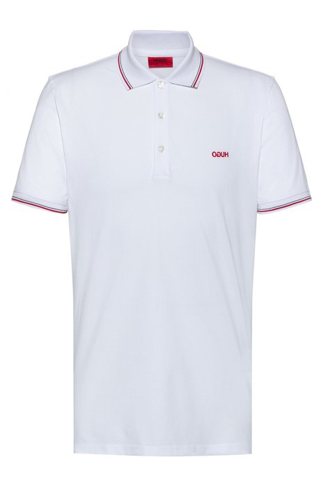 Slim-fit polo shirt with tipping stripes, White
