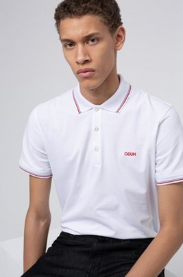 Polo Slim Fit à bordures rayées, Blanc