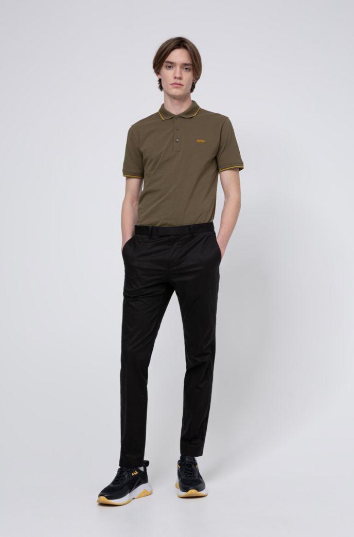Poloshirt aus Stretch-Baumwolle mit Streifen-Einfassung