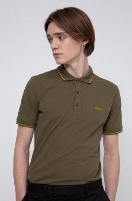 Poloshirt aus Stretch-Baumwolle mit Streifen-Einfassung, Khaki