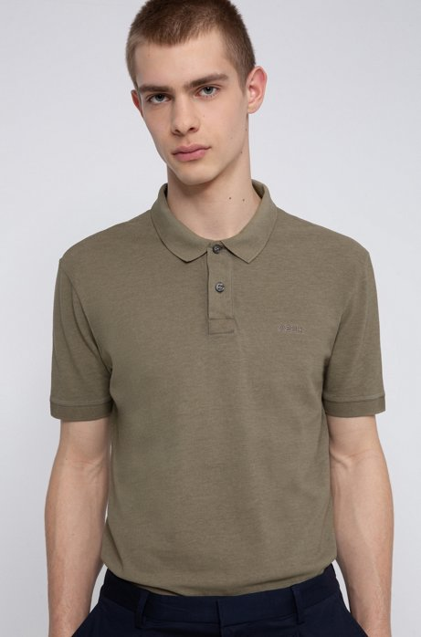 Garment-dyed polo shirt in Recot2® cotton, Khaki