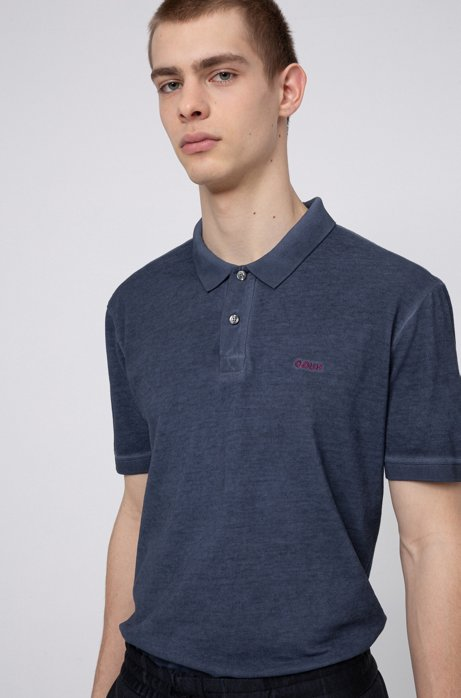 Garment-dyed polo shirt in Recot2® cotton, Dark Blue