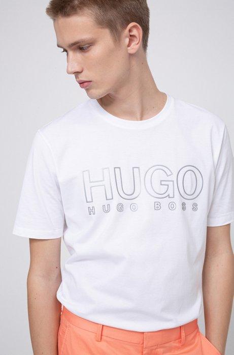 T-shirt à col rond en pur coton, avec logo réfléchissant, Blanc