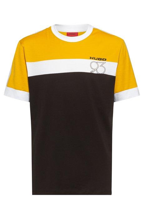 Regular-fit T-shirt van katoen met nieuw artwork, Zwart