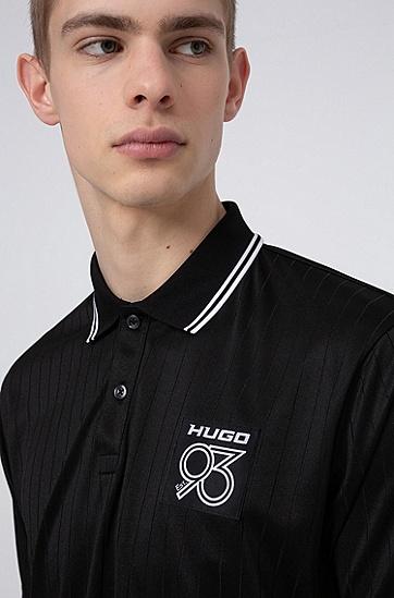 男士抽针条纹徽标饰片 Polo 衬衫,  001_黑色