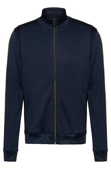 男士条纹饰边常规版型卫衣,  405_暗蓝色