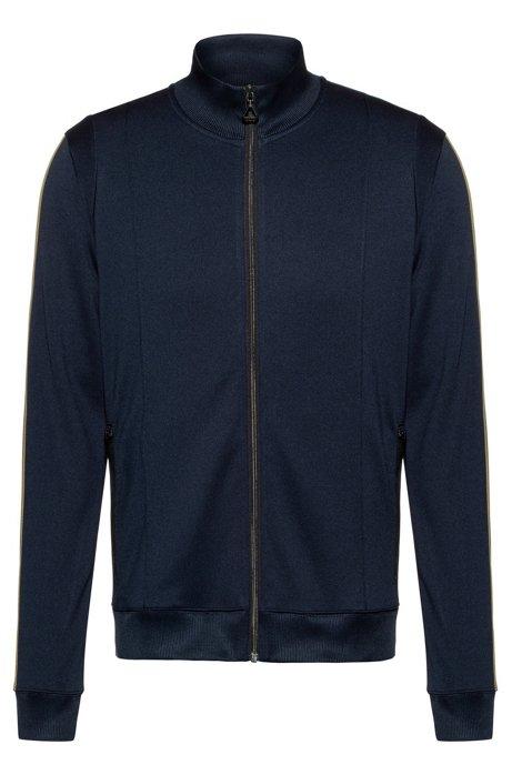 Regular-fit sweatshirt met gestreepte biesdecoraties, Donkerblauw