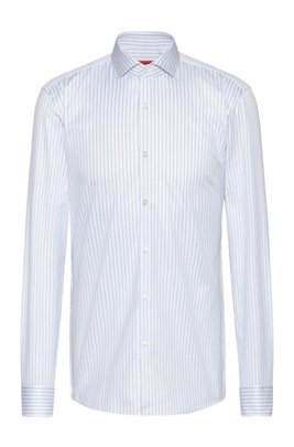 Slim-fit shirt in striped cotton with spread collar, Patterned
