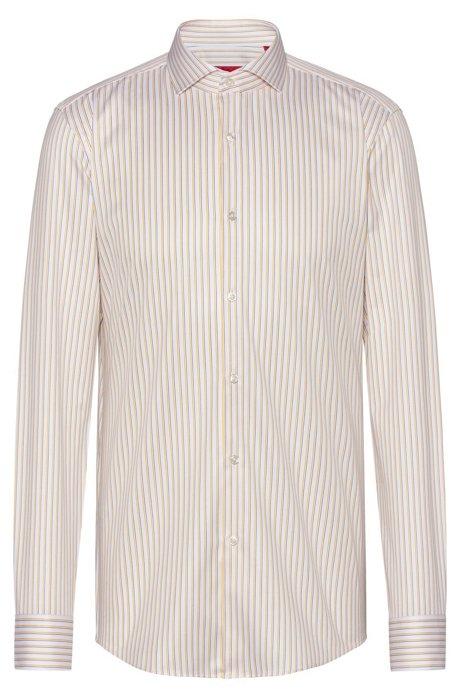 Gestreiftes Slim-Fit Hemd aus Baumwolle mit Cutaway-Kragen, Gemustert