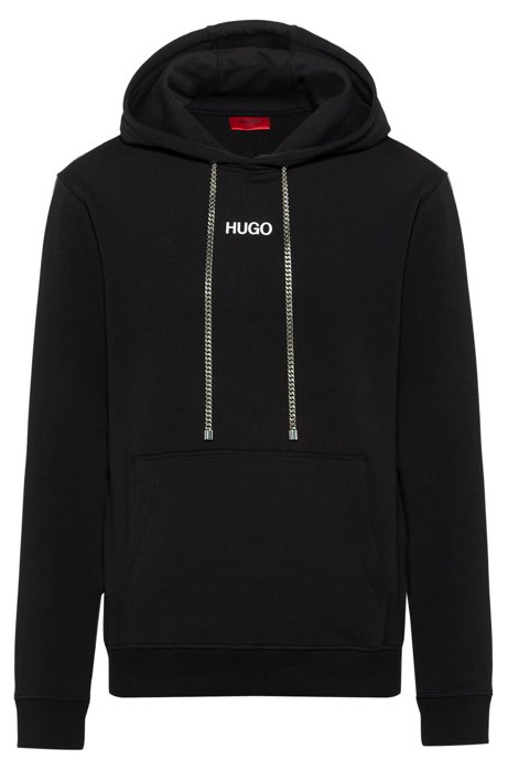 Relaxed-fit hooded sweatshirt with collection-themed photographic print, Black