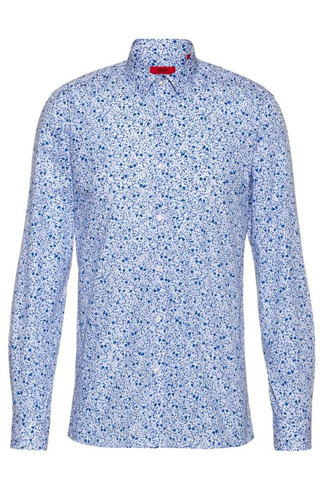 Extra-slim-fit cotton shirt with floral print, Patterned