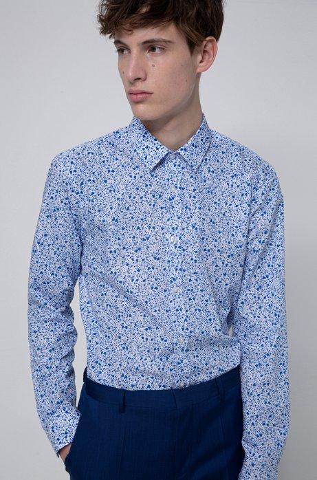 Extra Slim-Fit Hemd aus Baumwolle mit Blumenprint, Gemustert