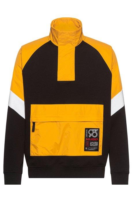 Hybride relaxed-fit sweater met HUGO '93-label, Zwart