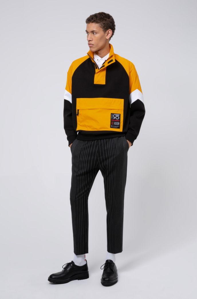 Relaxed-fit hybrid sweatshirt with HUGO '93 label