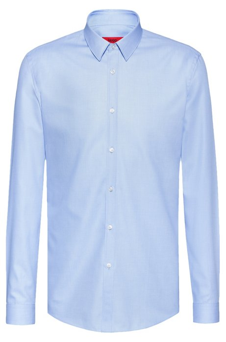 Slim-fit shirt in micro-structure cotton, Light Blue