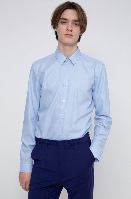Slim-Fit Hemd aus fein strukturierter Baumwolle, Hellblau