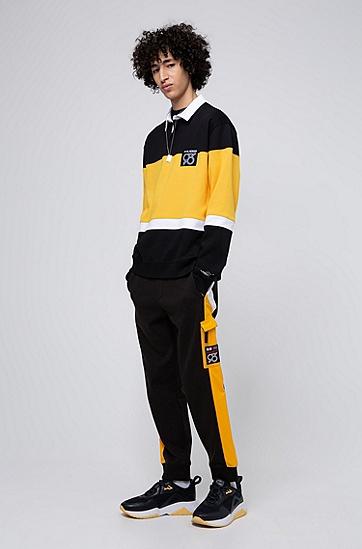 男士侧边条纹贴袋慢跑裤,  001_黑色