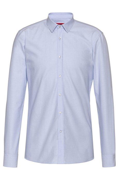 Camicia extra slim fit in cotone Oxford con motivo dobby, Celeste