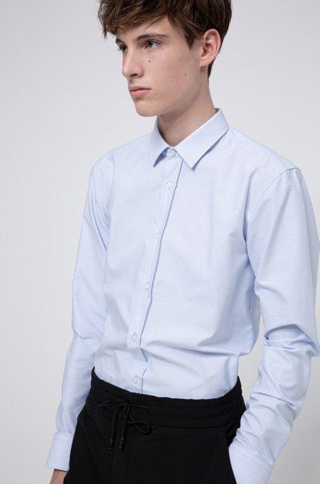 Chemise Extra Slim Fit en coton Oxford à motif façonné, Bleu vif