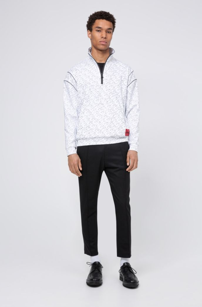 Unisex-Sweatshirt mit kurzem Reißverschluss und kubistischem Logo-Print