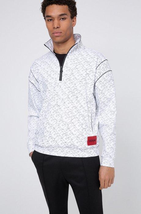 Unisex-Sweatshirt mit kurzem Reißverschluss und kubistischem Logo-Print, Weiß