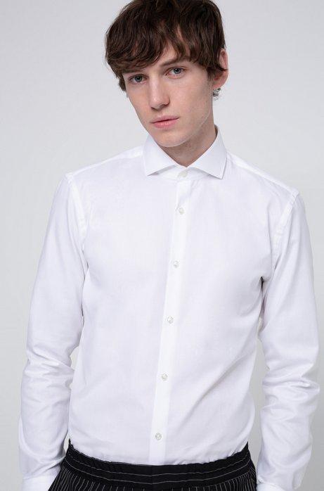Slim-fit overhemd van tweedraadse katoen, Wit