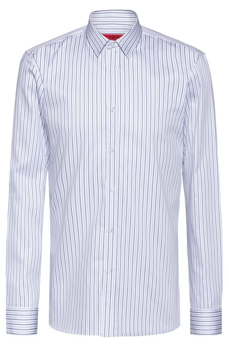 Extra-slim-fit shirt in striped cotton, Patterned