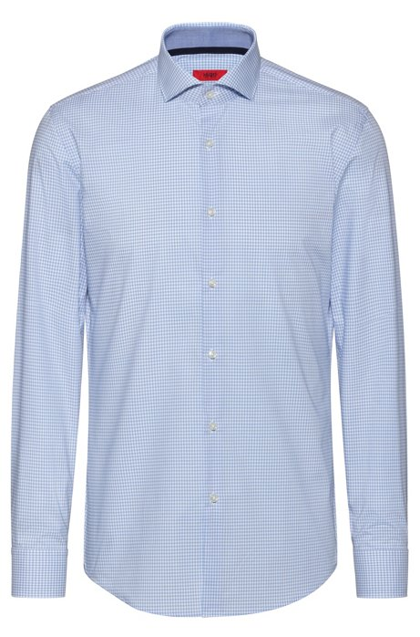 Slim-fit shirt in easy-iron checked cotton, Patterned