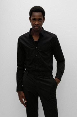 Extra-slim-fit shirt in easy-iron stretch-cotton canvas, Black