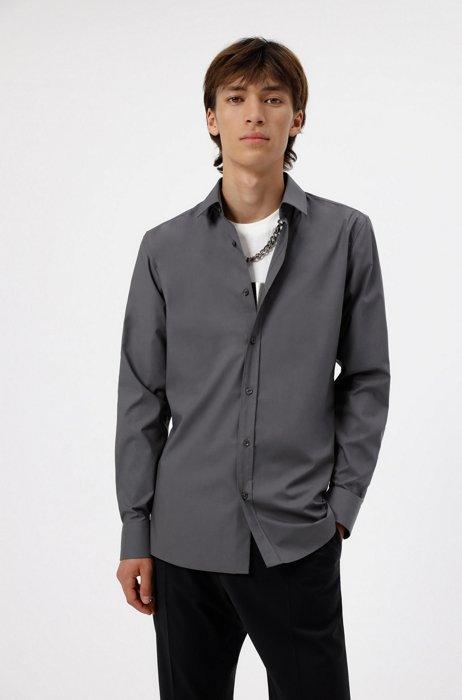 Extra Slim-Fit Hemd aus elastischem Baumwoll-Canvas mit bügelleichtem Finish, Dunkelgrau