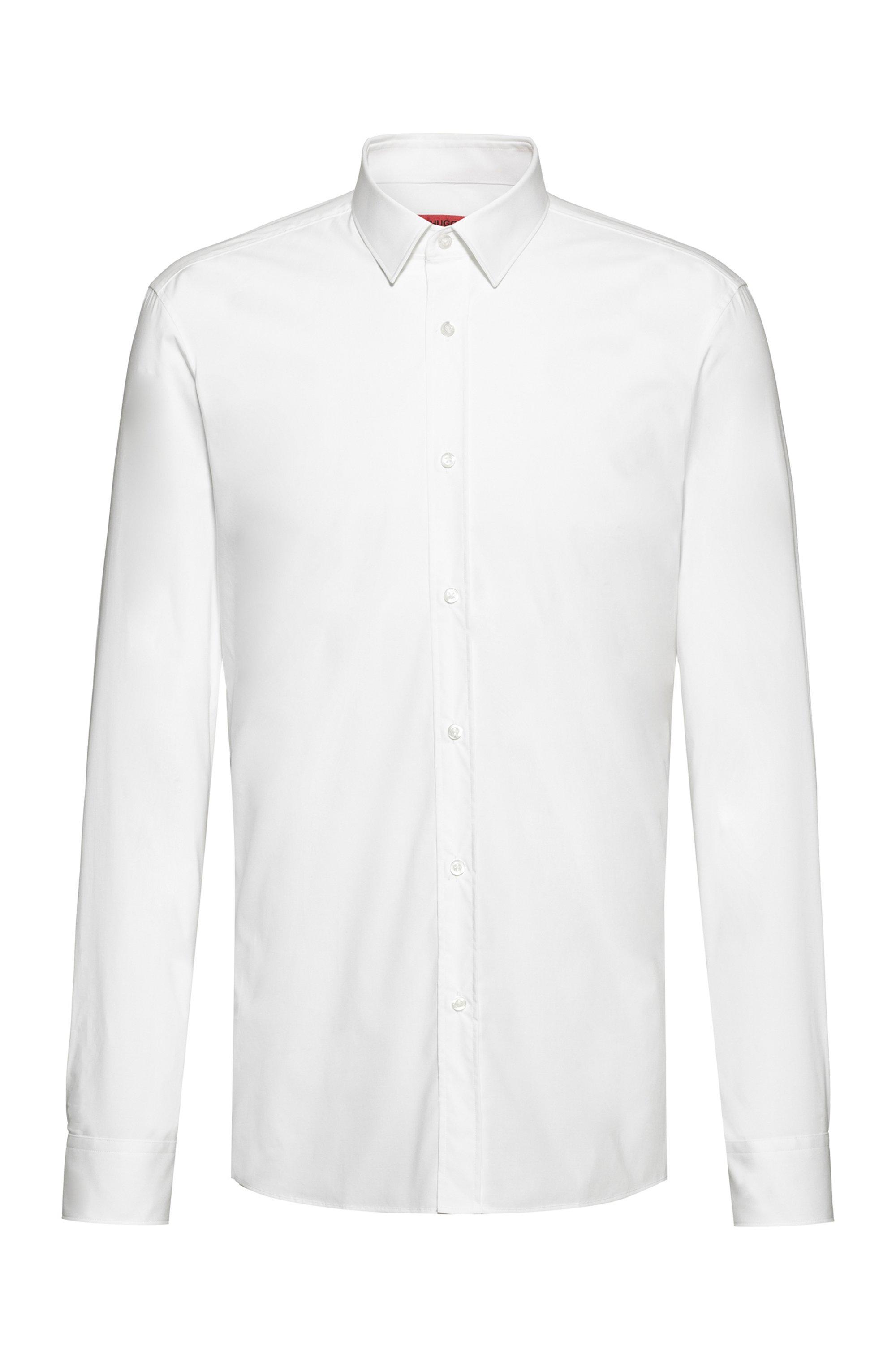 Chemise Extra Slim Fit en toile de coton stretch facile à repasser, Blanc