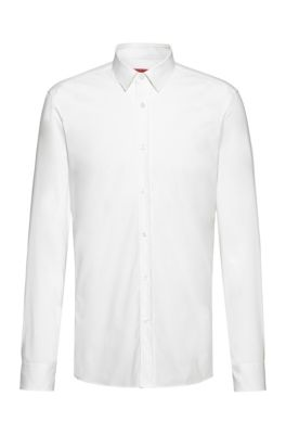 Extra-slim-fit shirt in easy-iron stretch-cotton canvas, White