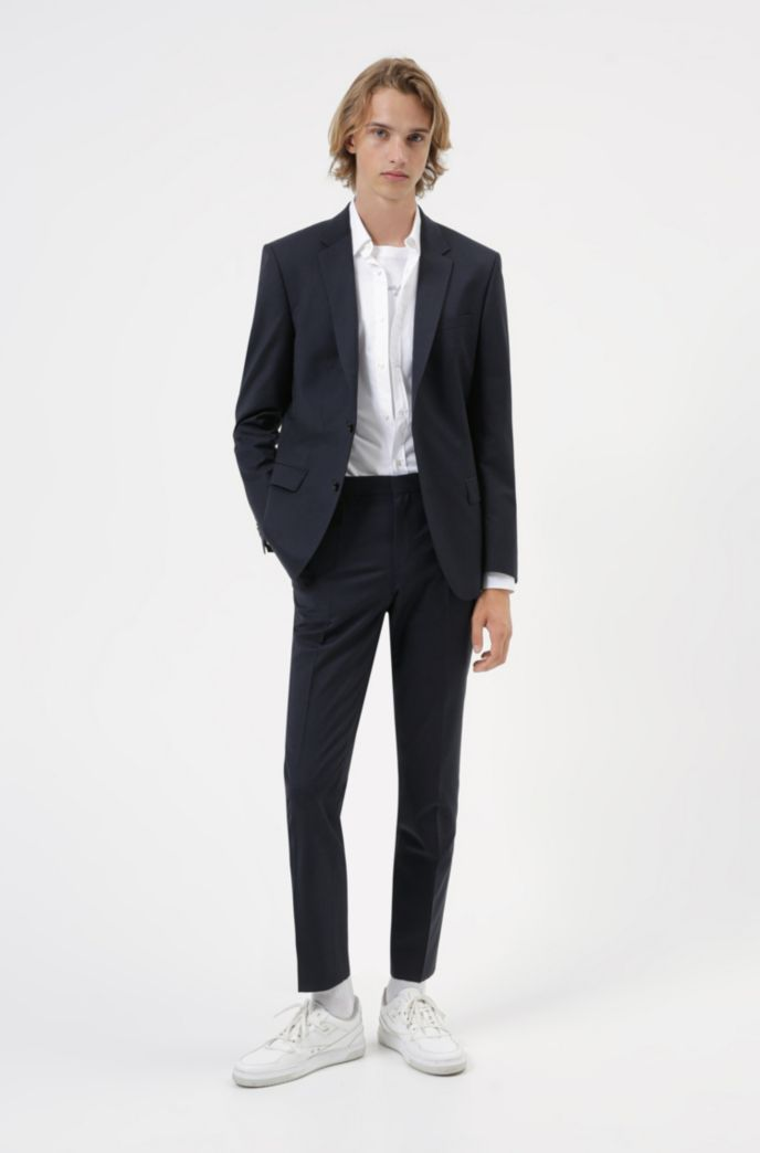 Extra-slim-fit shirt in easy-iron stretch-cotton canvas