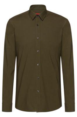 Camicia extra slim fit in cotone elasticizzato, Kaki