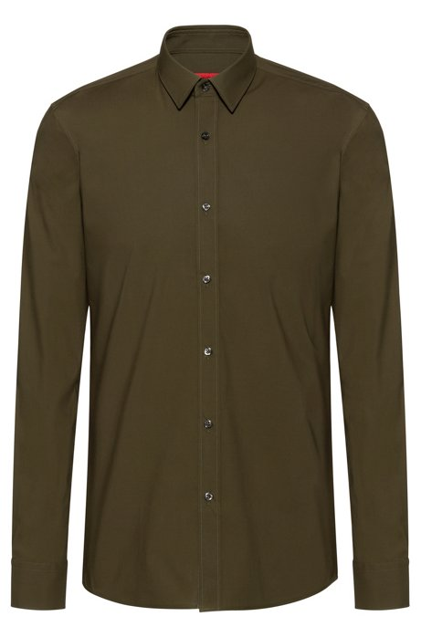 Extra-slim-fit shirt in stretch cotton, Khaki