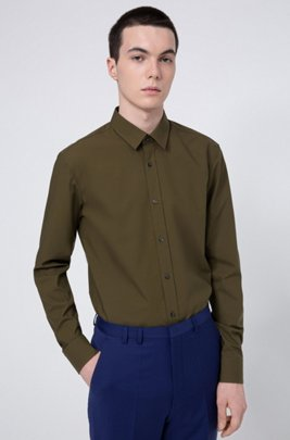 Extra-slim-fit shirt in easy-iron stretch-cotton canvas, Khaki