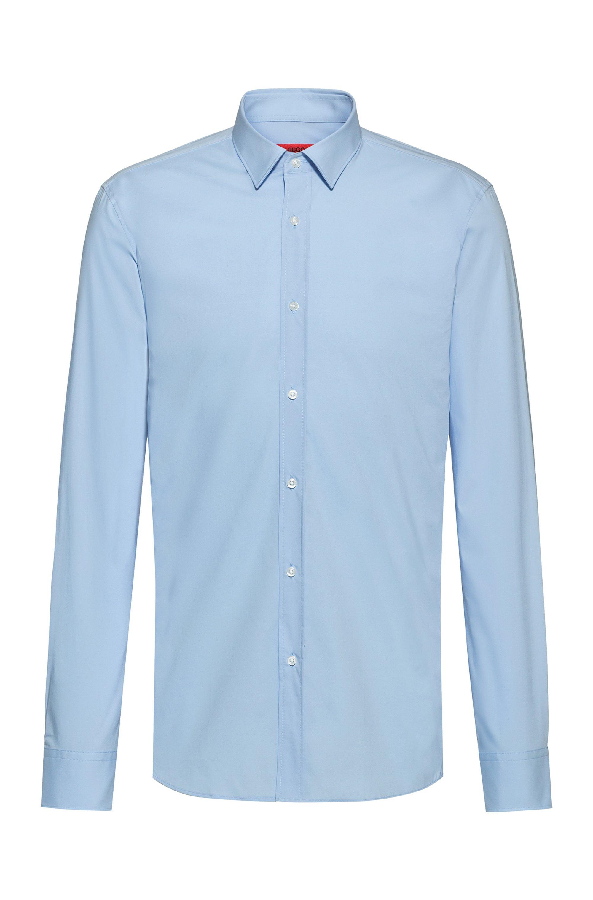 Extra Slim-Fit Hemd aus elastischem Baumwoll-Canvas mit bügelleichtem Finish, Hellblau