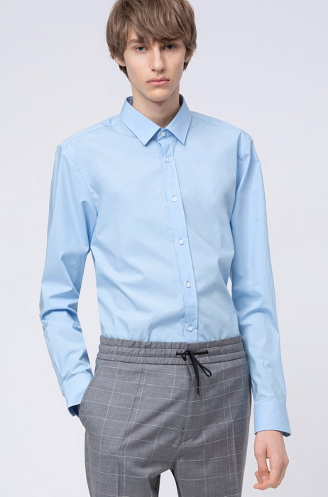 Extra-slim-fit shirt in easy-iron stretch-cotton canvas, Light Blue
