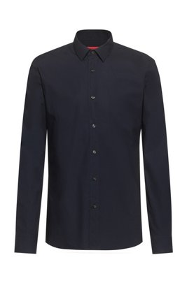 Extra-slim-fit shirt in easy-iron stretch-cotton canvas, Dark Blue
