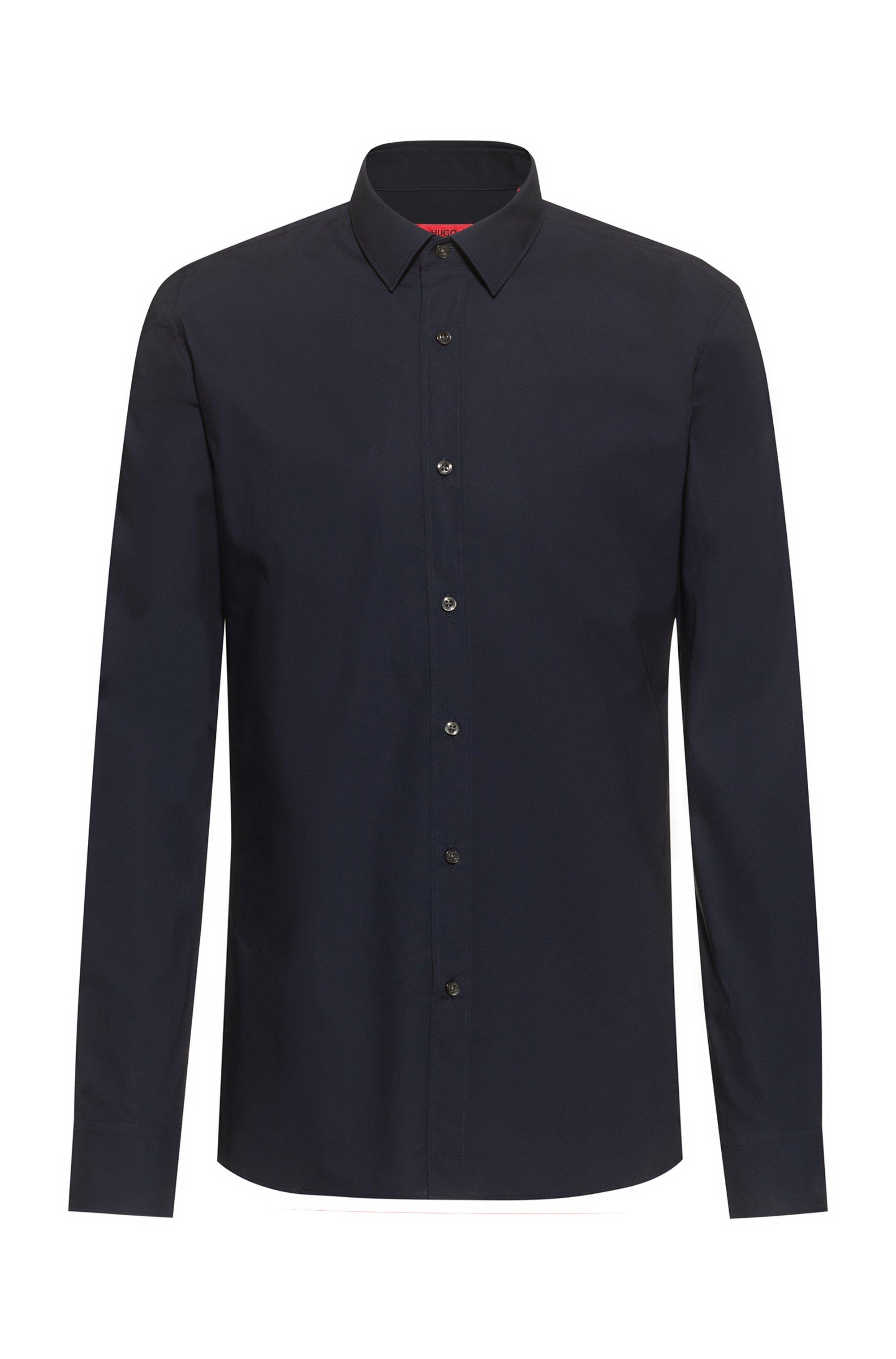 Extra-slim-fit shirt in easy-iron stretch-cotton canvas, Dark Blue