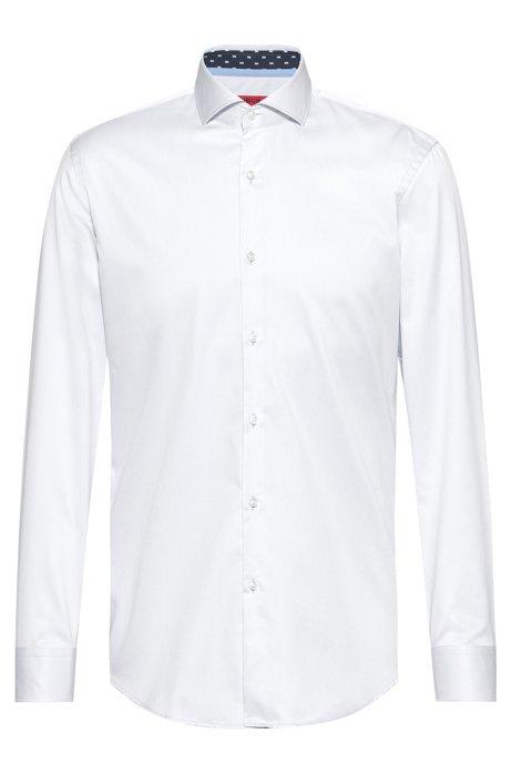 Slim-Fit Hemd aus Baumwoll-Twill mit Kontrast-Details innen, Weiß