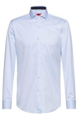 Chemise Slim Fit en twill de coton, avec détails contrastants à l'intérieur, Bleu vif