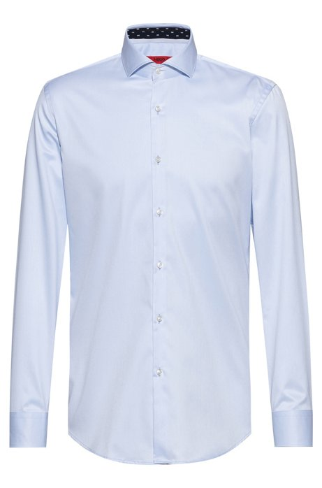 Slim-fit shirt in cotton twill with contrast inner, Light Blue