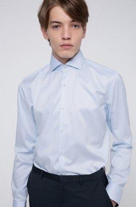 Camisa slim fit en sarga de algodón con detalles contrastados en el interior, Celeste