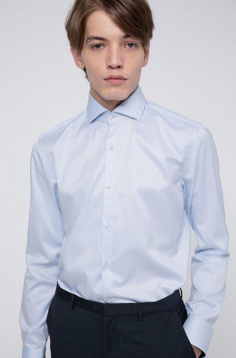 Slim-fit overhemd van katoenen twill met contrasten aan de binnenzijde, Lichtblauw