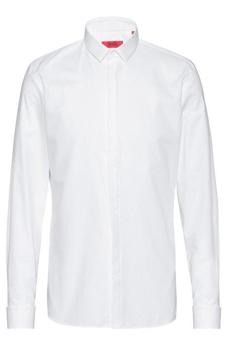 Camicia extra slim fit in cotone con polsini doppi, Bianco