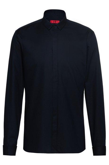 Extra Slim-Fit Hemd aus Baumwolle mit Umschlagmanschetten, Dunkelblau
