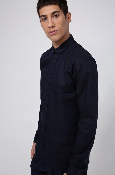 Extra slim-fit katoenen overhemd met dubbele manchetten, Donkerblauw