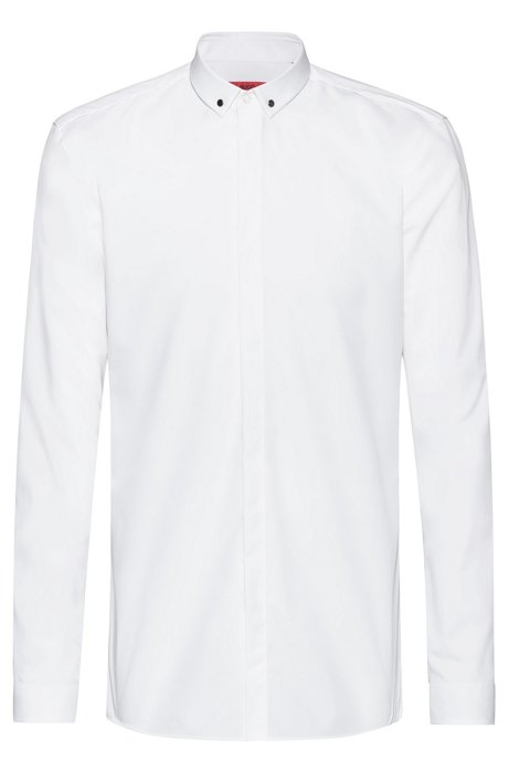 Extra-slim-fit shirt with collar hardware, White